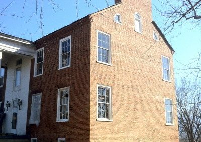 restoration, preservation, brick building, white windows, millwork