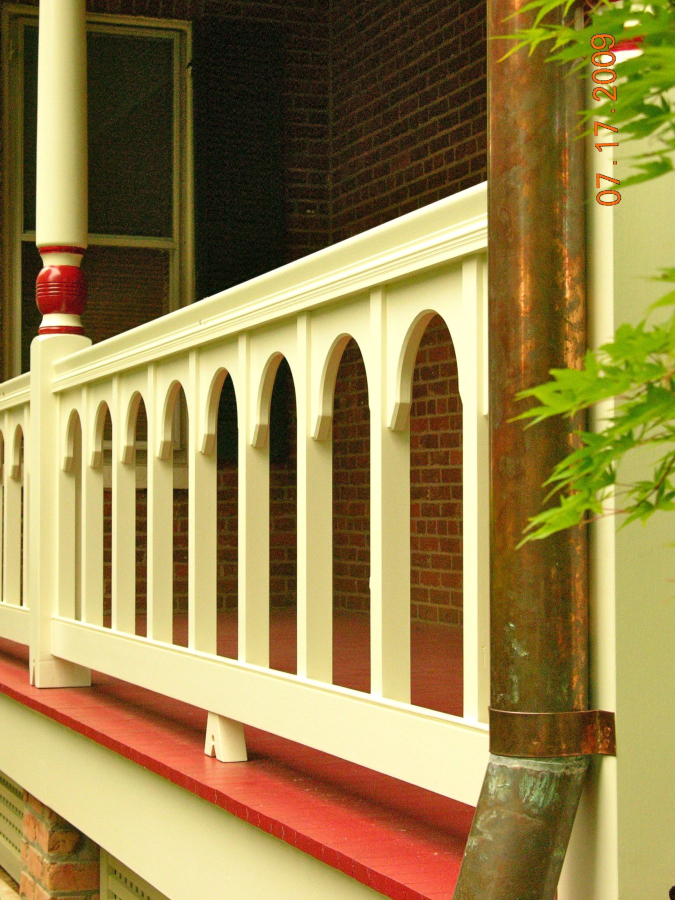 porch, white, red, wood,