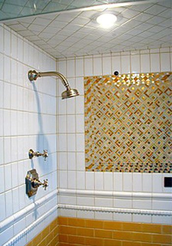 bathroom renovation, white tile, gold tile, shower,