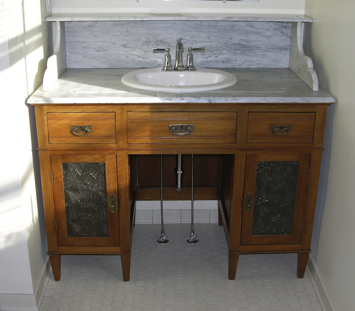 vanity, wash stand, custom, vanity, marble top, glass doors, re-purpose, vintage, old desk, sink, re-use, wood,